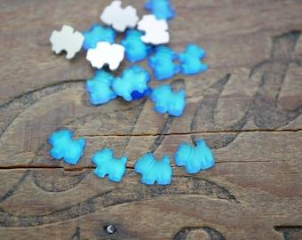 Rhinestone Scotty Dog Glass Rhinestone Small Dog Matte Finish Bermuda Blue Color Flash (4)