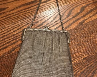 Vintage Silver tone Mesh Purse with Chain Strap