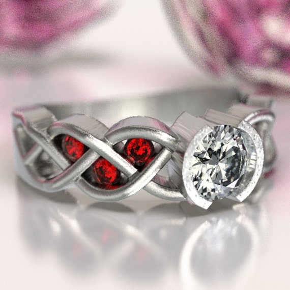 Celtic Ruby and Moissanite Engagement Ring with Braided Knotwork Design in Sterling Silver, Made in Your Size CR-1006