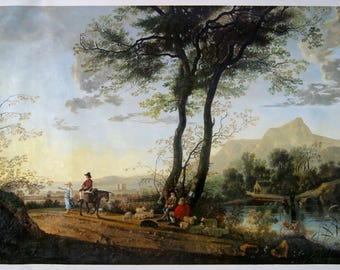 A Road near a River - Aelbert Cuyp hand-painted oil painting reproduction,conversation with sheep,figures in landscape,classic home decor