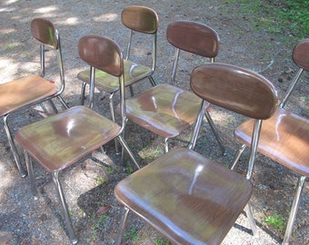 Mid Century Dining Chairs Set of 6 Old Metal Chrome Chair Brown Wood Grain Vintage School Industrial Office Chair Stainless Hey Woodite Desk