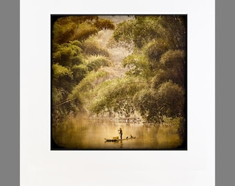 Any image matted to 20x24, ready to frame (Fisherman on the Yulong shown)