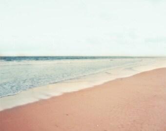 Beach Pastel Soft Print - Blue Aqua Peach Seascape Beach House Decor Wall Ocean Photography