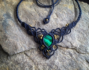 Macrame boho chic malachite necklace elven micro macramé jewelry by Creations Mariposa Ma2