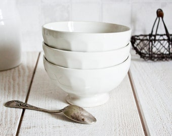 """Set of 3 Vintage French MOULIN DES LOUPS """"Café au lait"""" White Ironstone Bowl 