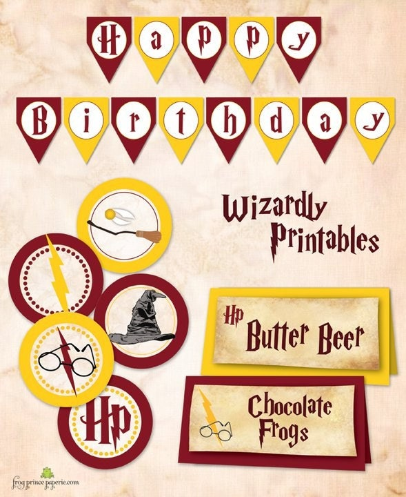 Wizard Birthday Printable Banner And 2 Inch Circles DIY