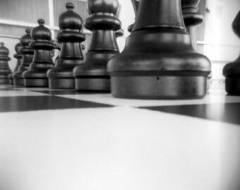 black white chess board, chess photo, photography print, board game, home decor, holga, chess art, macro, pawn, chess board, square, surreal