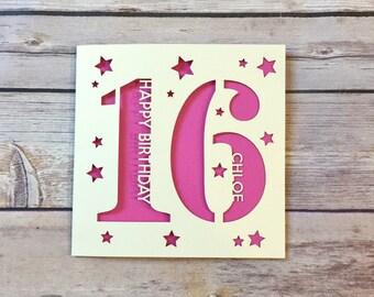 Personalised 16th Birthday Card, Son 16th Card, Daughter 16th Card, Sixteen Card, Sweet Sixteen, Niece 16th, Nephew 16th, Handmade, Lasercut