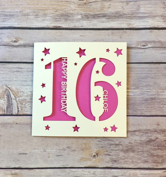 Personalised 16th birthday card son 16th card daughter 16th like this item bookmarktalkfo Gallery