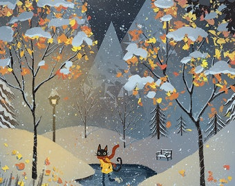 Cat Ice Skating in the Snow Art Print