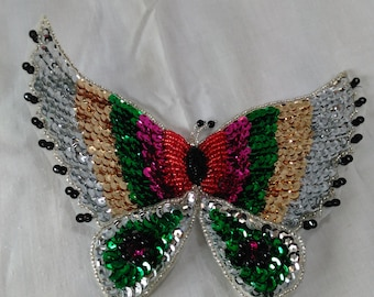 "Colorful Sequin Butterfly Patch/Applique/Silk Backing And Made In China/Wing Span Is 6.5"" Wide By 3.5"" High/New"