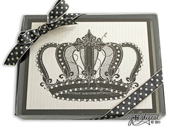 Blank Note Cards - Vintage Crown - Note Cards - Boxed Set of 10