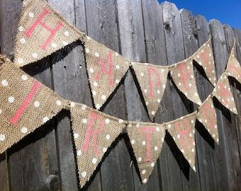 HAPPY BIRTHDAY BURLAP Banner, Birthday Decorations, Birthday Decor, Girl Birthday Banner, Custom Birthday Banner, Pink Birthday Banner