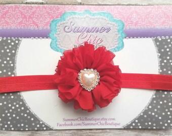 Valentine Headband, Valentine Baby Headband, Infant Headband, Newborn Headband, Baby Headband, , Toddler Headband. Red Baby Headband, Heart