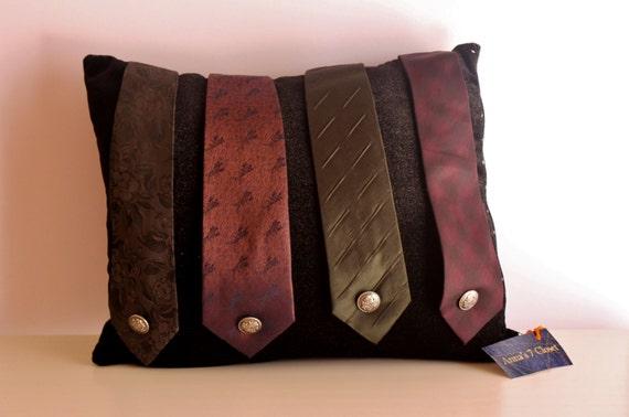 Black Velure Cushion Cover with Vintage Ties, Vintage Retro Style Cushion, Black Classy Modern Cushion