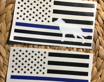 Thin Blue Line Flag Vinyl Decal/ Police Decal/ Yeti Police Decal