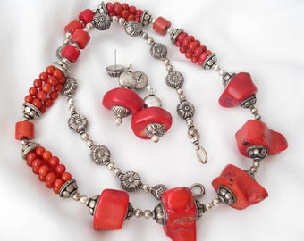 Chunky Bamboo Coral Necklace Earrings Set Valentine's Day Red Gifts for Her