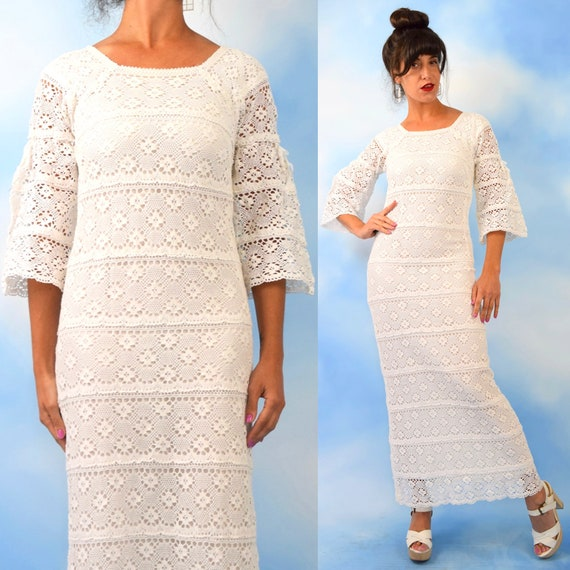 Vintage 50s 60s White Crocheted Bell Sleeved Mexican Wedding Dress (size small)