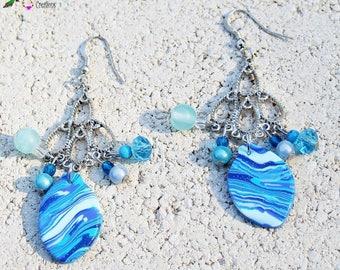 Jade crystal blue lagoon earrings