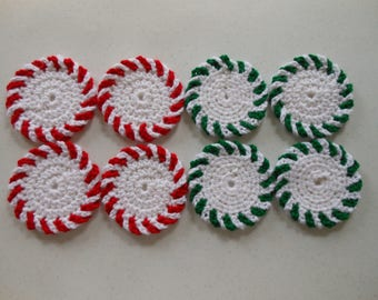 Peppermint & Spearmint Crochet Christmas Coasters Set of Eight
