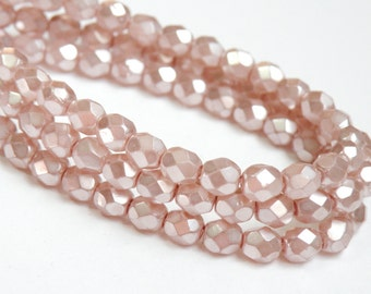 Pink Fire Polished Czech Glass Light Mauve Metallic Pearl Finish faceted round beads 6mm half strand NFP6-69