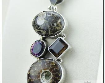 TURRITELLA Agate Fossil Ammonite Mystic Topaz Smokey Quartz 925 SOLID Sterling Silver Pendant + 4mm  Chain & FREE Worldwide Shipping p68
