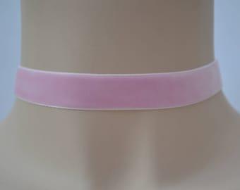 BABY PINK Velvet Choker, 30 Ribbon Colours, 16mm Plain Classic