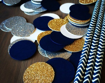 Gold, Navy, and Silver Confetti