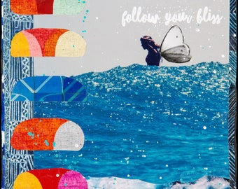 NEW! GLASSED, Follow Your BLISS, 4x4 and Up, サーフ, Hand Painted, Hand-Glassed collaged artwork, wood panel, ocean, surfer, art, butterfly