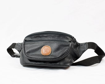 Vintage 90s Alentino Black Faux Leather Fanny Pack