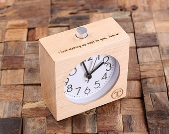 Personalized Wood Quartz Alarm Clock