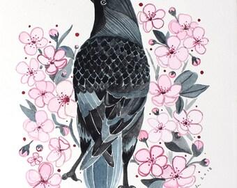 Original Art Illustration - Art - Crow Art - Crow Illustration - Original Painting - Original Art - Cherry Blossoms - Neighborhood