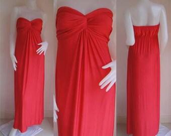 Red  strapless long maxi dress sun beach dress all size