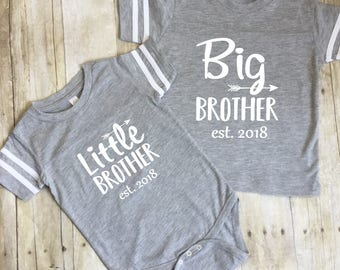 Big Brother Shirt-Little Brother Shirt-Pregnancy Reveal Brothers Matching Shirts-Big Brother Jersey-Photo Shirts-Boys Matching Shirts-2018