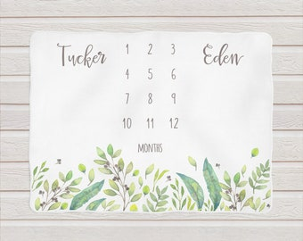 Twins Milestone Baby Blanket / Personalized Shower Gift / Floral Blanket by South + Willow Design
