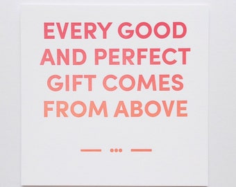 Every Good and Perfect Print // Letterpress Art Print // New Baby // Nursery Decor // Square Print // Baby Gift