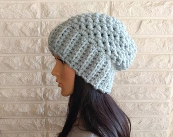 Women's chunky slouch hat, light blue slouchy hat, women's winter hat, gifts for her, women's accessories, fall, winter and spring fashion