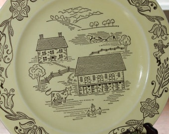 "Dutch Country Bucks County Plate - Royal Sebring USA -- 10"" -- Farm Scene, Country, Dutch, Amish"