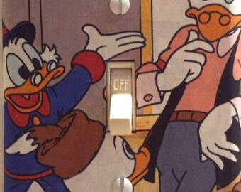 Duck Tales Scrooge McDuck Huey and Gyro Gearloose Disney Classic Movie Light Switch Cover Bedroom Bathroom Free US Shipping