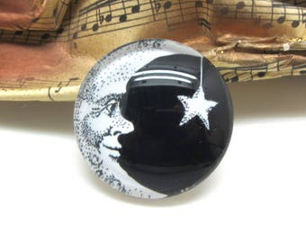 2 cabochons glass Moon smile star black 20 mm - 20 mm
