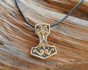 Redesigned Bronze Thor's Hammer Pendant with Face