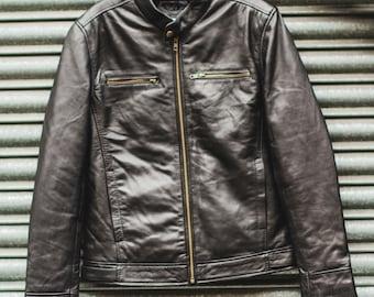 80's Style Premium Black Leather Biker Jacket