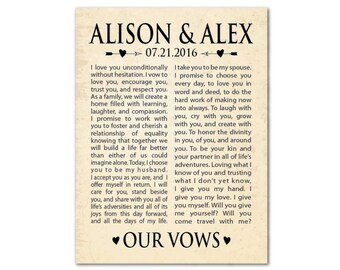 Wedding Wall Art - Wedding Wall Decor - Our Vows - Wedding Vows PRINT - Personalized Wedding Gift - Anniversary Gift - Gift for couple