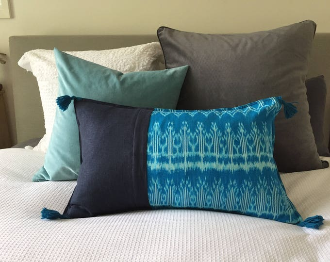 Fair Trade Artisan Teal Ikat Textile + French Navy + Australian Merino Wool Tassels Washed Eco Friendly Linen Cushion Cover
