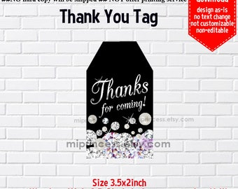 Instant Download, glitter, diamond pearl tag, thank you gift , elegant Thank you TAG, 3.5x2inch printable , non-editable NOT CUSTOMIZABLE
