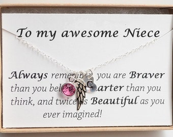 Personalized Gift for Niece-Niece necklace-Niece Gift Necklace-Niece birthday gift-Niece jewelry-Sweet 16-Angel wing necklace-Gift from aunt