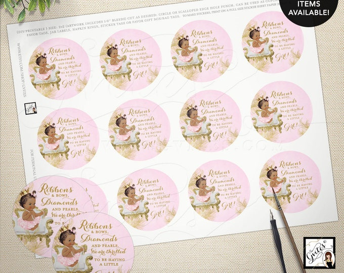 "Pink and gold circle labels or tags, baby shower baby girl, popcorn labels or party favors tags labels. 2x2"" 12/Per Sheet. MAX CHAR: 75"