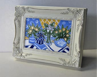 """Original framed acrylic still life painting, shabby white frame, 9"""" x 7"""", blue and yellow, garden flowers, French Country decor, gift idea"""