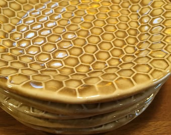 Honeycomb plate with honey glaze handmade by Ruth Sachs.