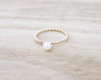 Pearl ring, gold pearl ring, beaded pearl ring, pearl stacker, pearl stacking ring, pearl rings, dainty gold ring, gold ring, pearl jewelry